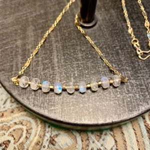 Jewelry - Moonstone Bar Necklace with 14k Gold Fill Necklace